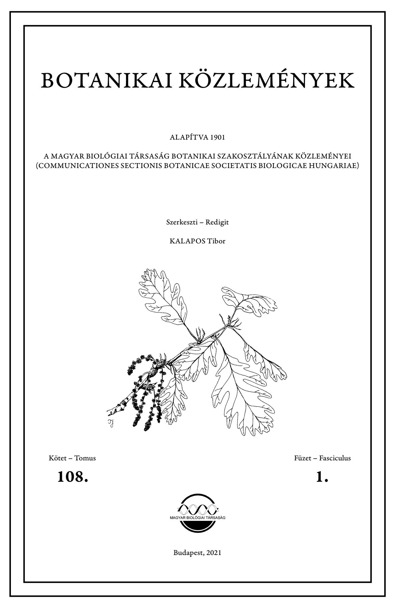 Botanikai Közlemények címlap